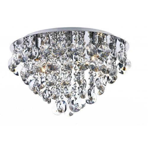 Dar JES5450 Jester 5 Lamp Flush Ceiling Light With Clear Crystal Droppers